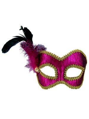 Metallic Hot Pink Masquerade Mask on Glasses