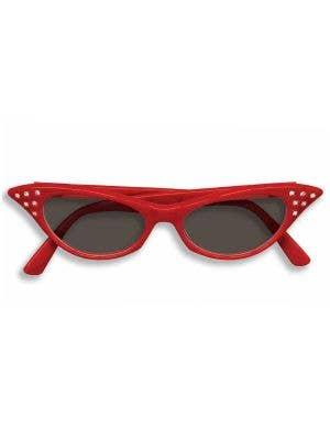 1950's Retro Red Ladies Glasses With Black Lenses