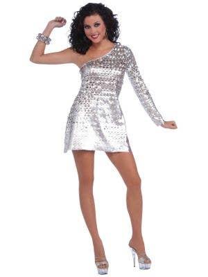 Disco Honey 70's Silver Women's Mini Dress Costume