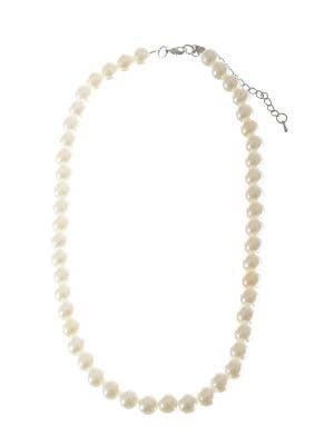 Glamour White 1920's Flapper Pearl Necklace Costume Accessory
