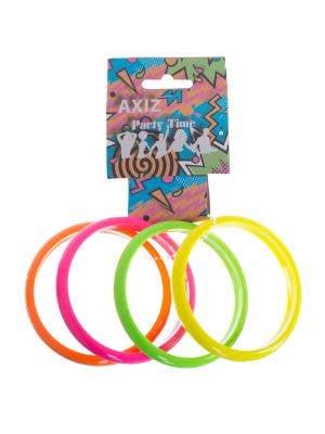 Set Of 4 Neon Coloured 1980's Bangles Costume Accessory
