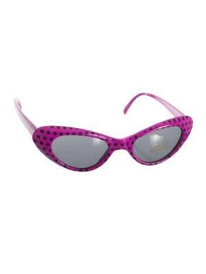1950's Retro Dark Pink Pink And Black Polka Dot Costume Sunglasses