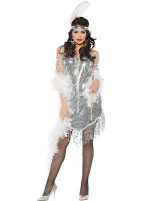 Swingin' Silver Women's Sexy Gatsby Flapper Costume image 1