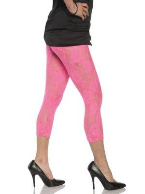 Women's 80's Neon Pink Lace Costume Leggings