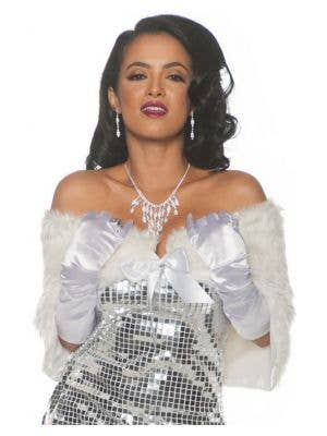 Fancy Women's White Faux Fur Shrug Costume Accessory