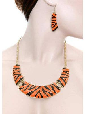 Orange Zebra Print Women's 80's Costume Jewellery Main Image