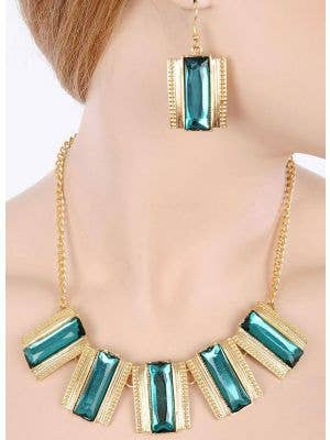 Green and Gold Women's 80's Costume Jewellery Main Image