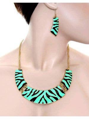 Mint Green Zebra Print Women's 80's Costume Jewellery Main Image