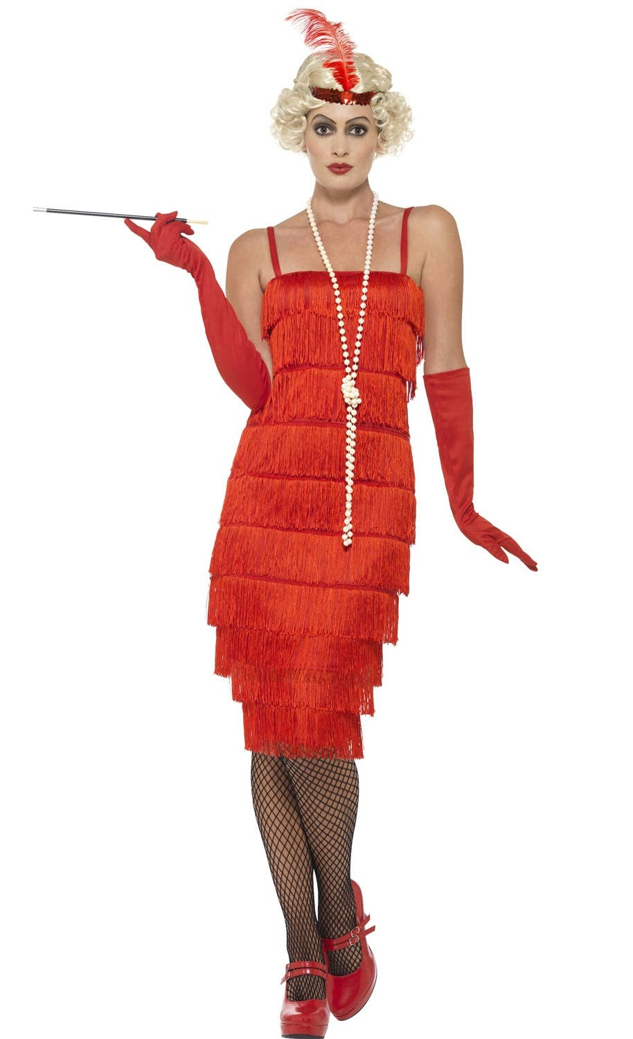 razzle dazzle womens 1920s long red flapper costume genuine smiffys