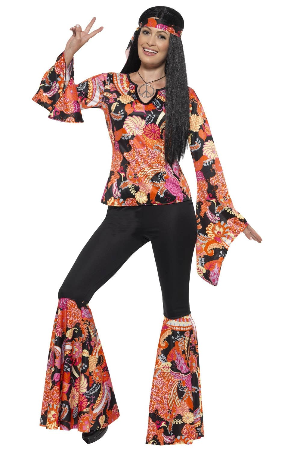 f8ade39d6c7 Details about Willow The Hippie Womens 1970s Costume Genuine Smiffys - New