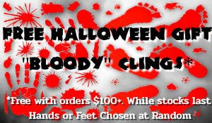 Get a Free Bloody Cling Set for Halloween with Every Order Over $100