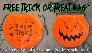 Get a Free Pumpkin Trick or Treat Bag with Every Kids Costume Purchased for Halloween 2019