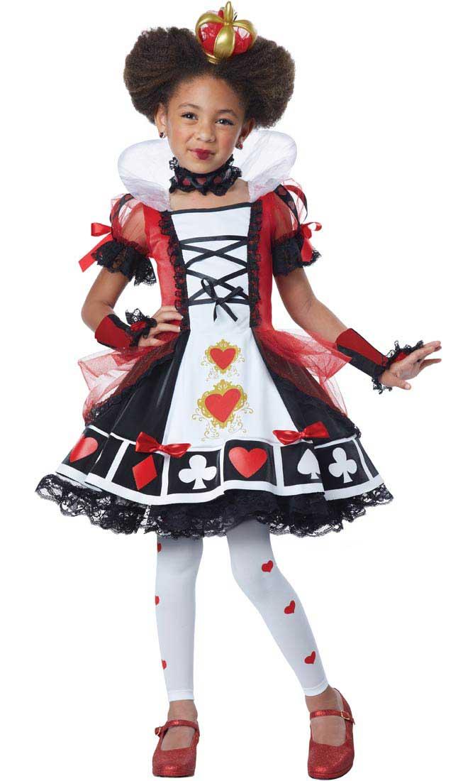 Girls Deluxe Queen of Hearts Fancy Dress Costume