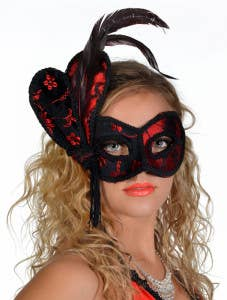 Black and Red Brocade Masquerade Masks