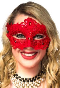 New Lacework Red Women's Masquerade Masks