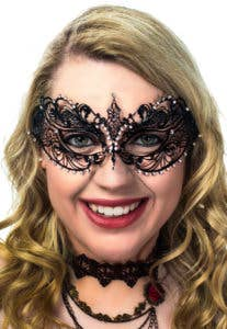 New Black Metal Filigree Masquerade Masks