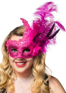 New Deluxe Hot Pink Feathered Masquerade Masks