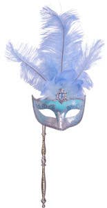 Hand Held Feather Masquerade Masks