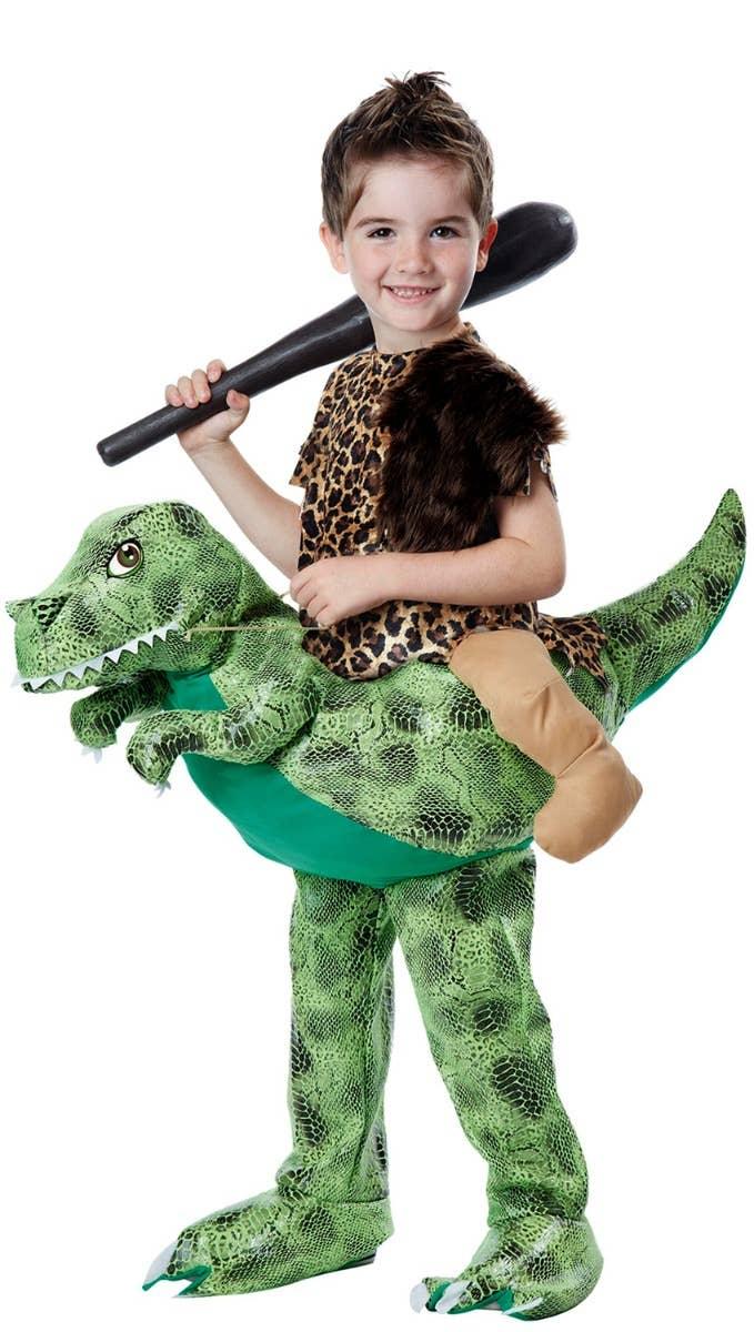 Kids Dino Rider Funny Caveman Fancy Dress Costume