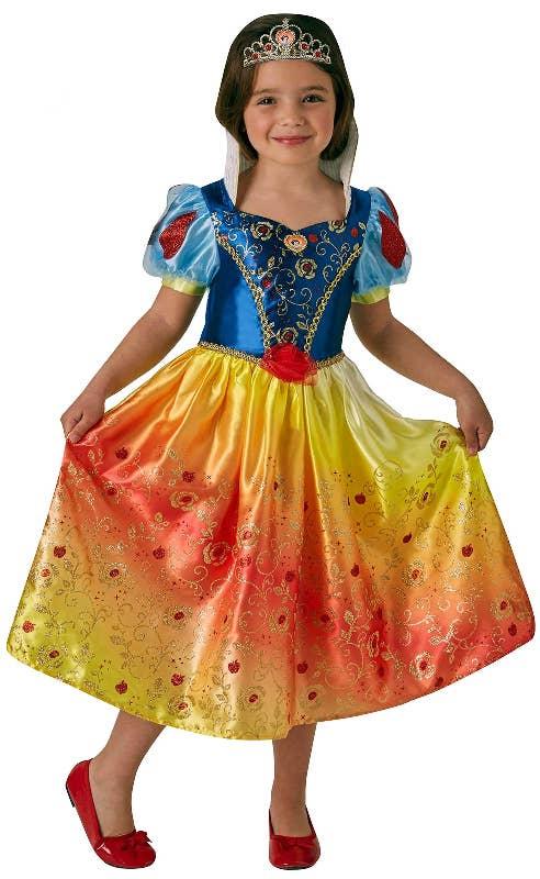 Girls Disney Princess Rainbow Snow White Fancy Dress Costume