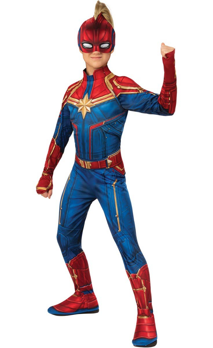Girls Captain Marvel Avengers Superhero Costume