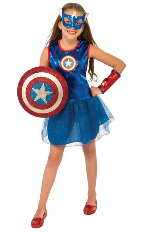 Girls Superhero Captain America Fancy Dress Costume
