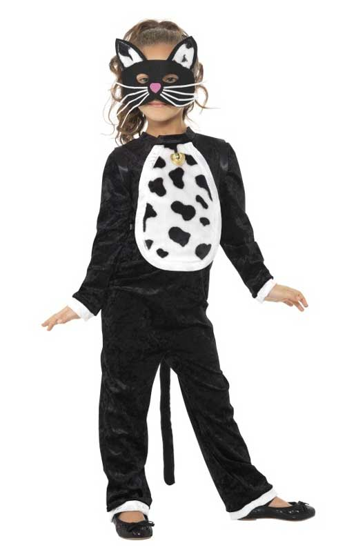 Girls Black Kitty Cat Fancy Dress Animal Costume