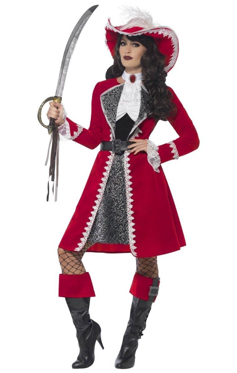 Deluxe Women's Pirate Captain Fancy Dress Costume