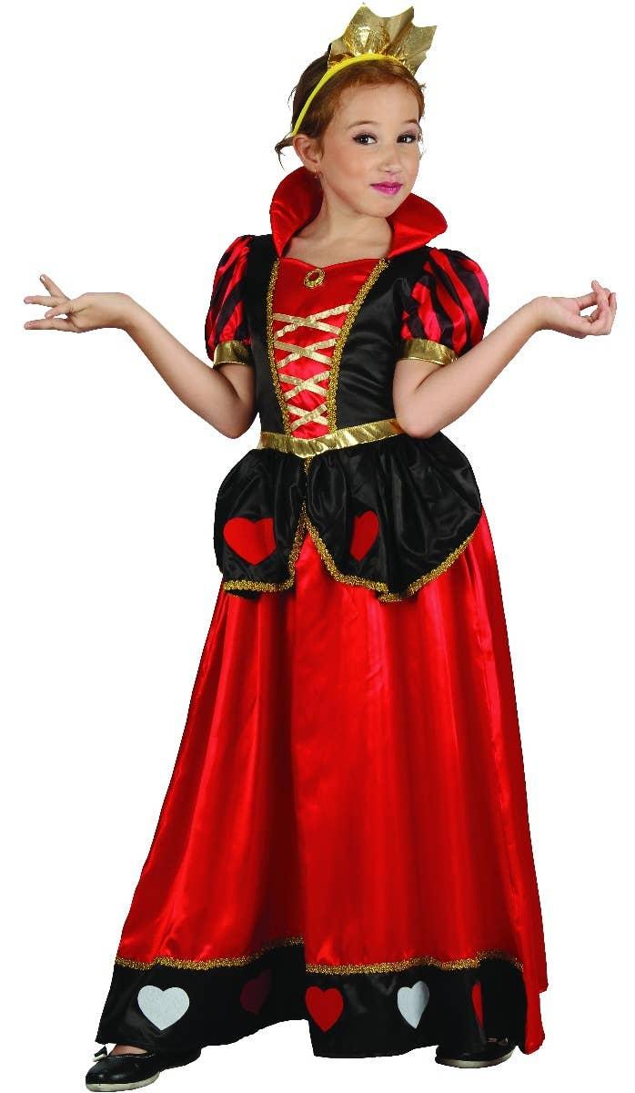 Queen of Hearts Girls Fairy Tale Fancy Dress Costume